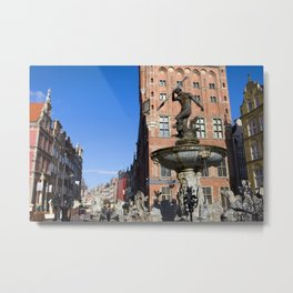Neptune Fountain in Gdansk Metal Print
