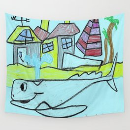 White Whale Village Wall Tapestry