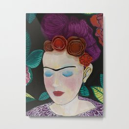Frida with flowers Metal Print