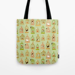 Bird Cages on Green Tote Bag
