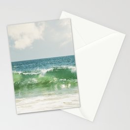 Ocean Sea Landscape Photography, Seascape Waves, Blue Green Wave Photograph Stationery Cards