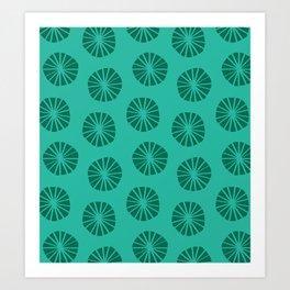 Mod Scandinavian Dandelions in Teal + Green Art Print