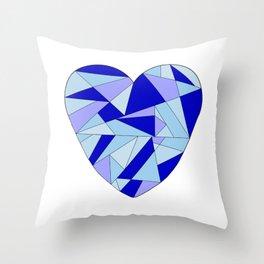 Fractal Blue Heart Throw Pillow