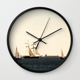 Sailboats in a windy day Wall Clock