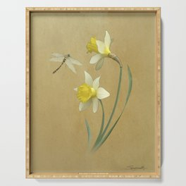 Daffodil and Dragonfly Serving Tray