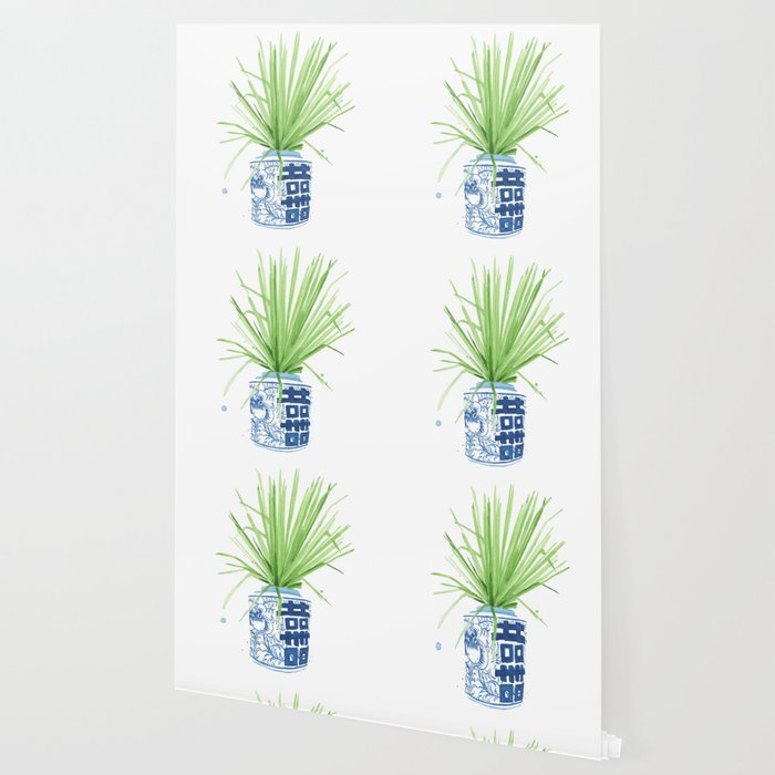 Ginger Jar + Fan Palm Wallpaper