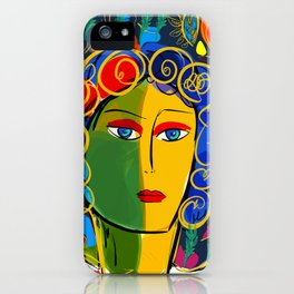 The Green Yellow Pop Girl Portrait iPhone Case