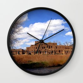Taos Pueblo, Early Spring Wall Clock