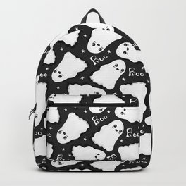 Spooky Black and White Kawaii Ghost Pattern Backpack