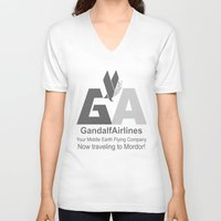 gandalf V-neck T-shirts featuring Gandalf Airlines by Faniseto