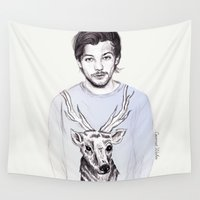coconutwishes Wall Tapestries featuring Louis and his deer by Coconut Wishes