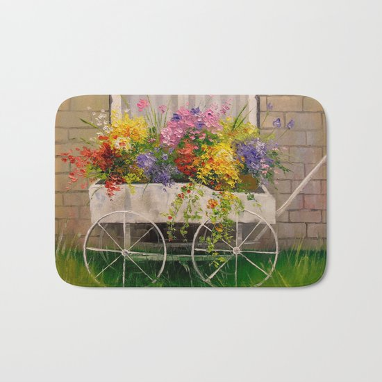 Old wagon with flowers Bath Mat