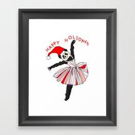 Happy Holidays Secret Santa Panda Ballerina Framed Art Print