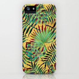 Palm Leaf on Gold iPhone Case