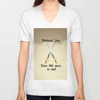 medieval V-neck T-shirts featuring Medieval Fan by Littlebell