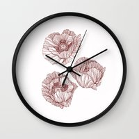 poppies Wall Clocks featuring Poppies by Annike