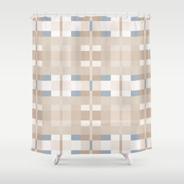 Beige and Blue Color Blocks Geometric Pattern Shower Curtain