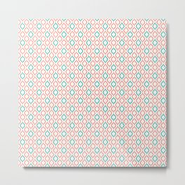 Geometric Peach and Turquoise Metal Print