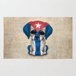Cute Puppy Dog with flag of Cuba Rug