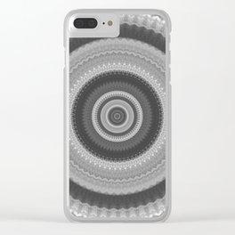 Bohemian Silver Mandala Design Clear iPhone Case