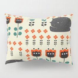 Cats napping between flowers Pillow Sham