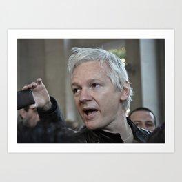 Julian Assange at Occupy London Day 1 Art Print
