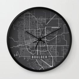 Boulder Map, USA - Gray Wall Clock
