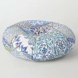 """Travel Photography """"Iznik ceramics in blue, red and teal pattern"""" Istanbul, Turkey.. Photo print. Floor Pillow"""