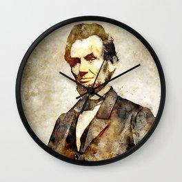 Abraham Lincoln Digital Art Portrait Wall Clock