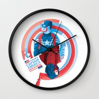 the winter soldier Wall Clocks featuring The Winter Soldier by Florey