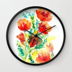 Orange Flowers Watercolor Wall Clock