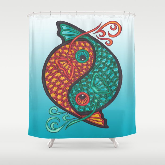 Pices Zodiac Symbol in yin yang Shower Curtain