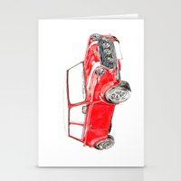 mini cooper Stationery Cards featuring Red Mini Cooper by Meg Ashford