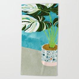 Variegated Monstera #tropical #painting #nature Beach Towel