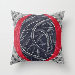 Junction- red graphic Throw Pillow
