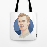 benedict cumberbatch Tote Bags featuring Cumberbatch by Megan Diño