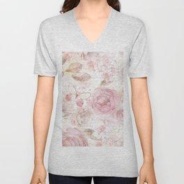 Vintage pastel pink brown butterfly floral typography Unisex V-Neck