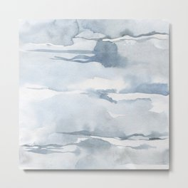 Pastel blue gray abstract watercolor brushstrokes stripes pattern Metal Print