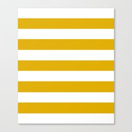 Mustard yellow - solid color - white stripes pattern Canvas Print