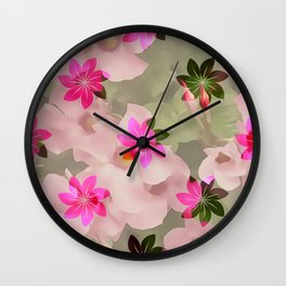 Flowers on Flowers - Pink and Green Wall Clock