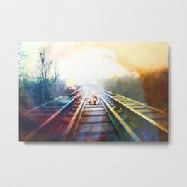 Desolated Journey od a Teddy Bear on rails Metal Print