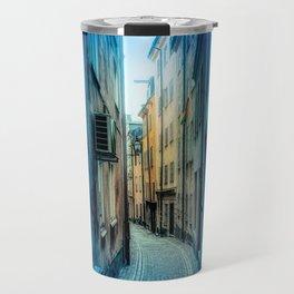Triptych photos of alleyways in Stockholm. Travel Mug