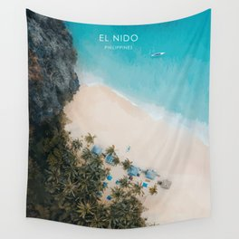 El Nido, Philippines Travel Illustration Wall Tapestry