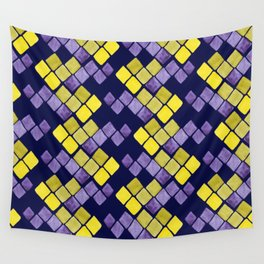 Mozaic pattern in faux gold, yellow, purple and navy indigo Wall Tapestry