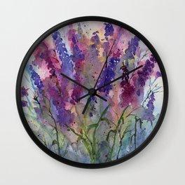 Delphinium Blues, from my original watercolor Wall Clock