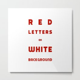 Red on White Metal Print