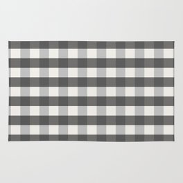 Grey and Pottery White Plaid Gingham Farmhouse Country Canvas digital texture Rug