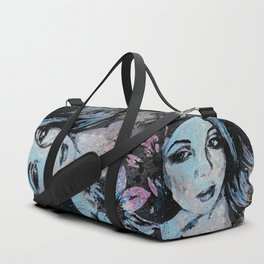 Ruined Our Everything: Blue (graffiti flower lady portrait) Duffle Bag