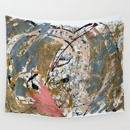 Symphony [2]: colorful abstract piece in gray, brown, pink, black and white Wall Tapestry