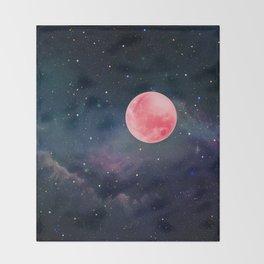 Pink Moon Throw Blanket